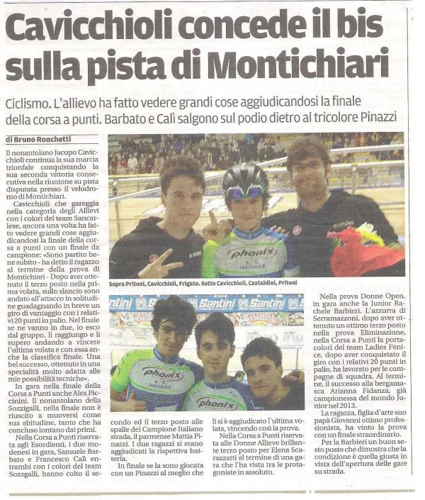 articolo Jacopo Montichiari Gazzetta di Modena